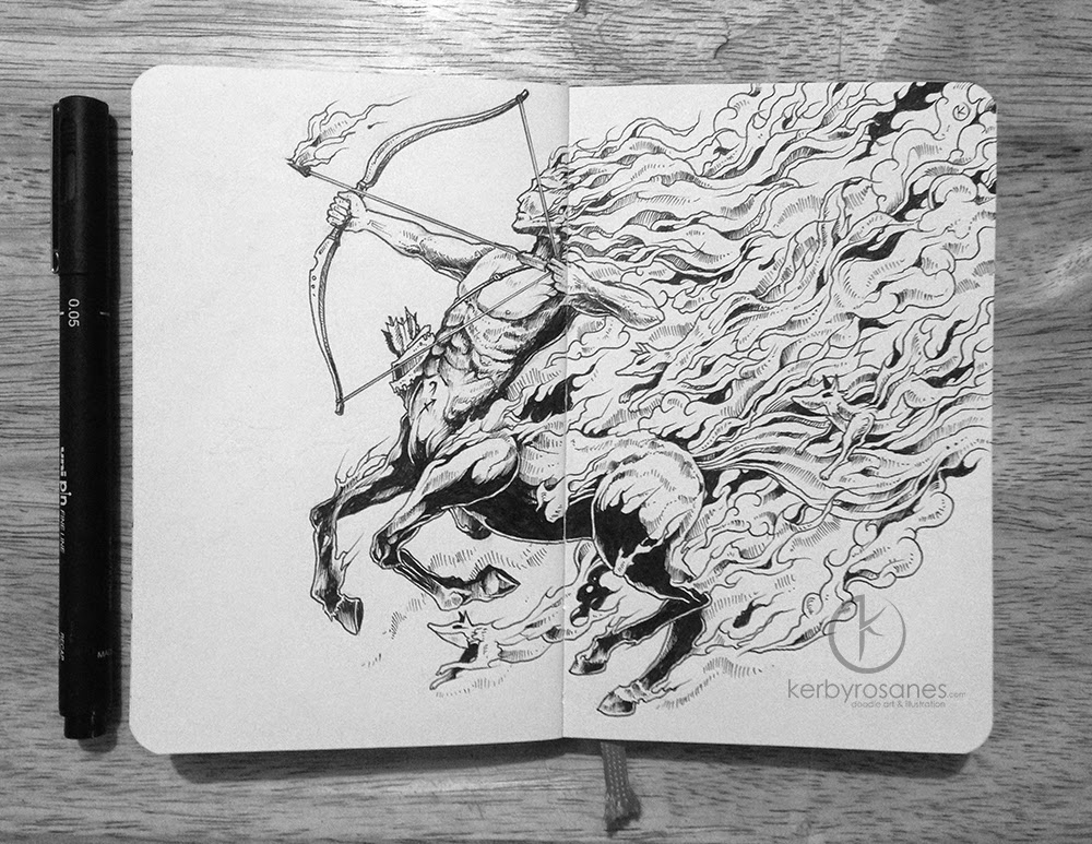 10-Sagittarius-Kerby-Rosanes-Detailed-Moleskine-Doodles-Illustrations-and-Drawings-www-designstack-co