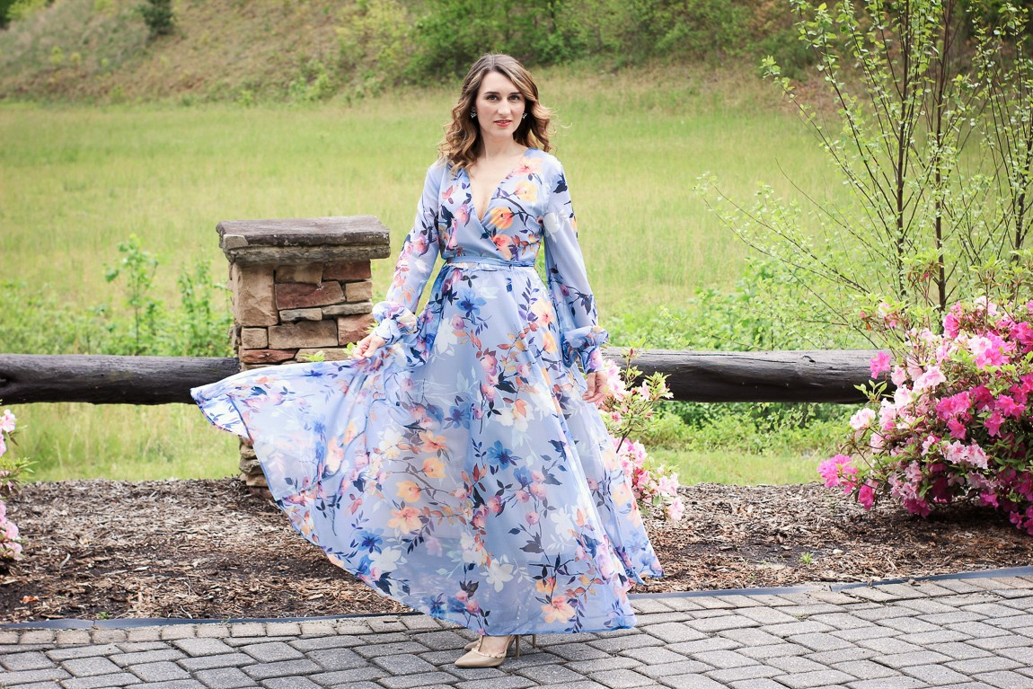 Blue Chiffon Floral Maxi Dress from Chicwish