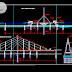 مخطط جسر معلق بكبول فولاذية اتوكاد dwg