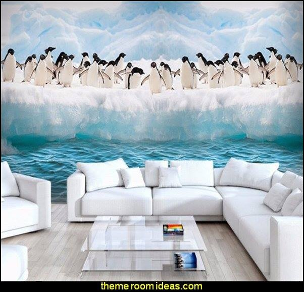 Antarctic Ice Penguin Animal Mural   penguin bedrooms - polar bear bedrooms - arctic theme bedrooms - winter wonderland theme bedrooms - snow theme decorating ideas - penguin duvet covers - penguin bedding - winter wonderland party ideas - Christmas