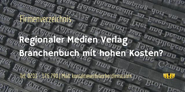 Regionaler Medien Verlag  Branchenbuch mit hohen Kosten
