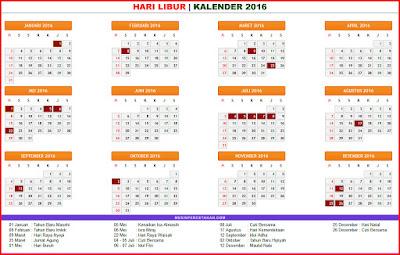 KALENDER 2016 tanggal merah