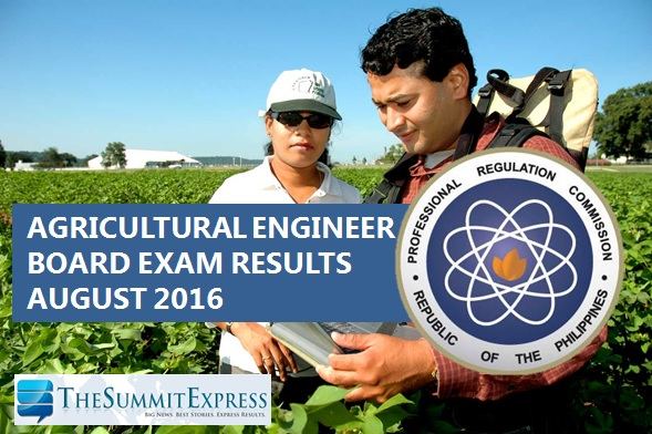 August 2016 Agricultural Engineer board exam results