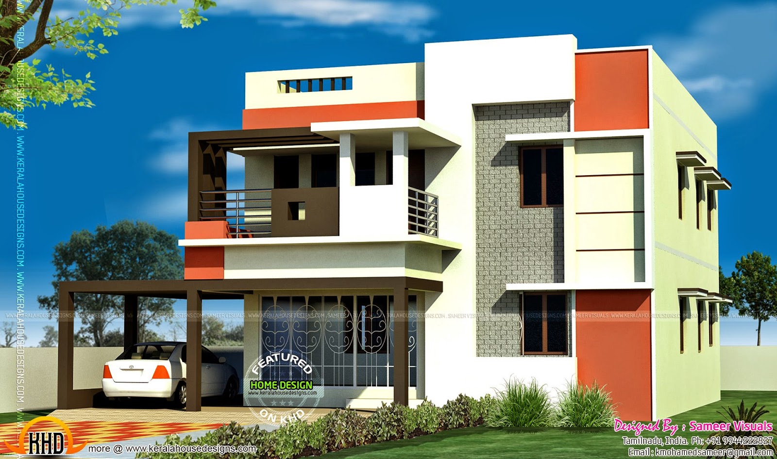 Front Elevation With Stilt Parking : Bedroom tamilnadu flat roof house kerala home design