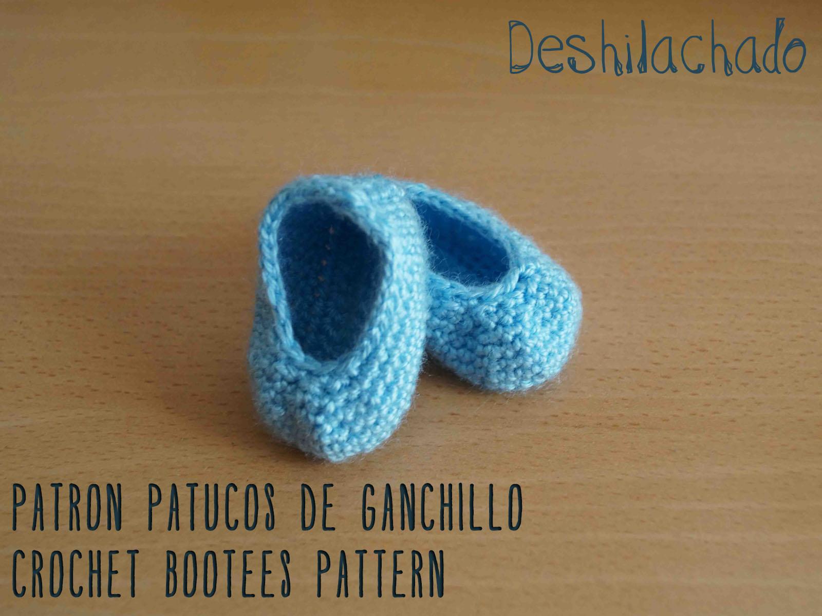 Deshilachado: Patrón de patucos de ganchillo / Crochet bootees pattern