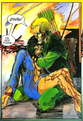 panel from Longbow Hunters #2 (1987). Property of DC comics.