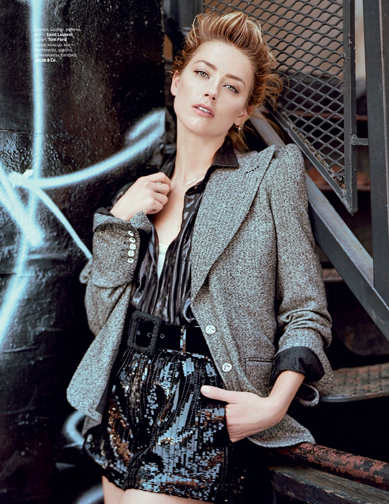 Amber Heard poses in Saint Laurent and Tom Ford