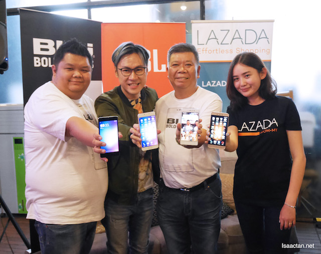 Representatives from Lazada Malaysia, BLU and Hot Gadget at the launch
