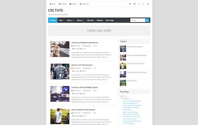New Minima Colored Redesign Responsive Blogger Template