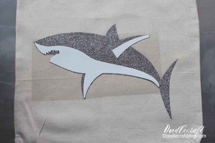 Doodlecraft Great White Shark Glitter Vinyl Tote Bag