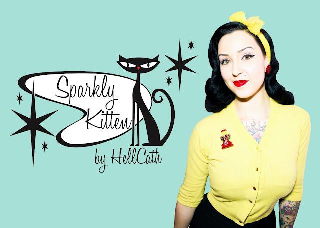 Bijoux Sparkly Kitten HellCath broches rétro