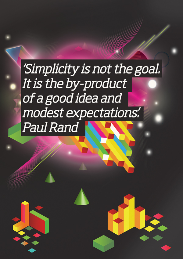 SIMPLICITY IS NOT THE GOAL, IT IS THE BY-PRODUCT OF GOOD IDEA AND MODEST EXPECTATIONS
