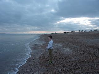 eastney beach looking to southsea promenade sunset