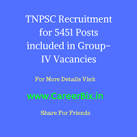 TNPSC Recruitment for 5451 Posts included in Group-IV Vacancies