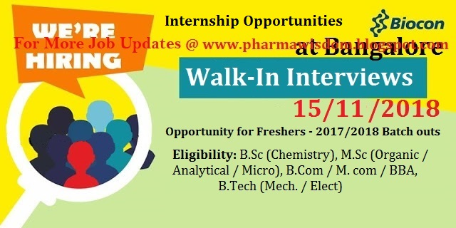 Biocon Limited - Walk-In Drive for Freshers for Internship on 15th