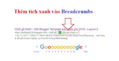 """Thêm tích xanh """"Đã xác minh"""" vào Breadcrumbs Blogspot"""