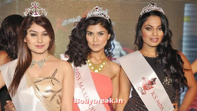 2nd runner-up Kangna Sharma, Winner Swapnil Sharma and 1st runner-up Chandrika Ravi, Prachi Desai at Kamasutra Miss Maxim 2014