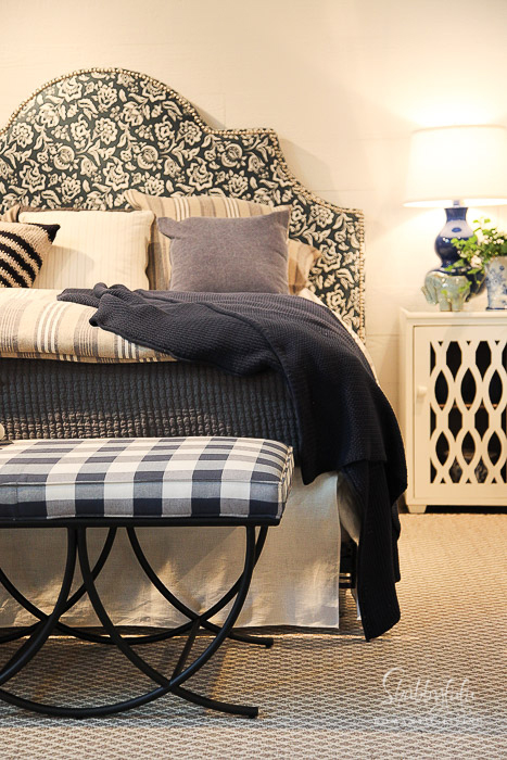upholstered headboard black and white buffalo check bench