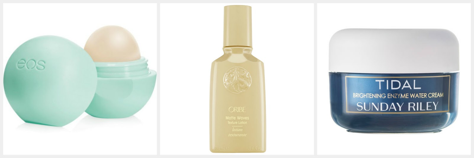 autumn winter beauty wish list sunday riley tidal oribe matte waves texturing spray eos lip balm