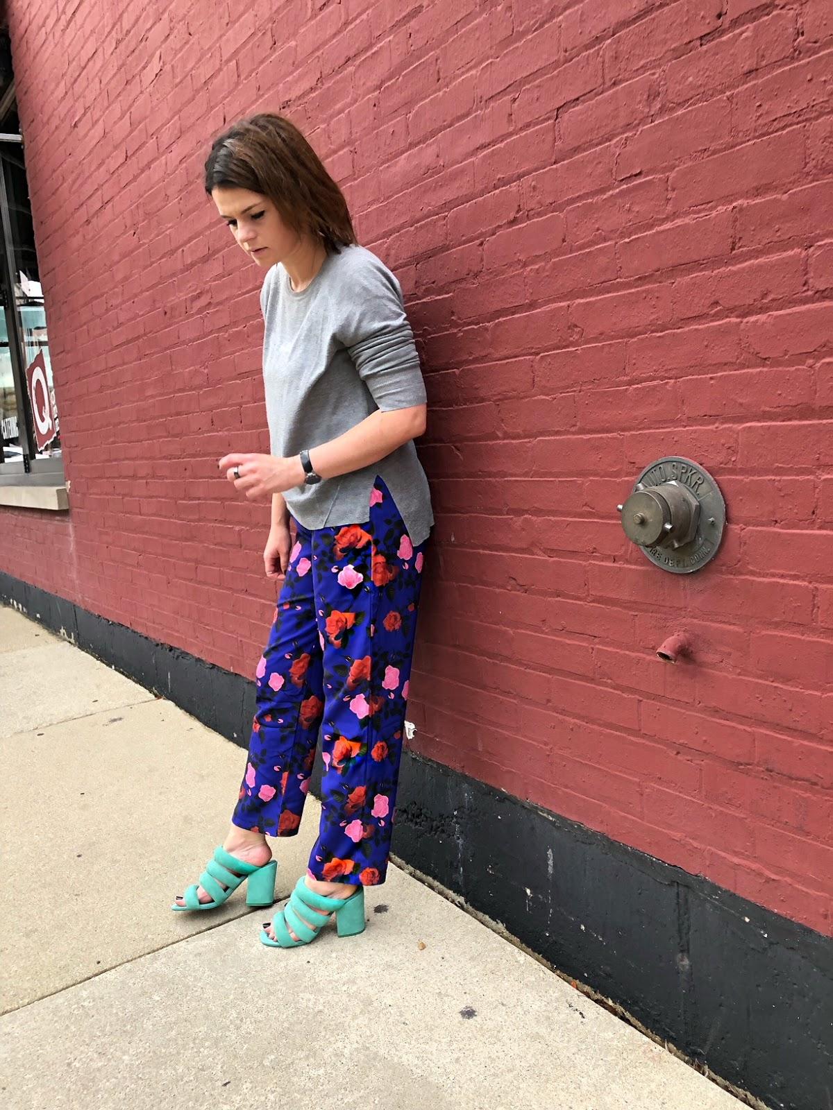 Floral pants + the best Kelsi Dagger Brooklyn mules