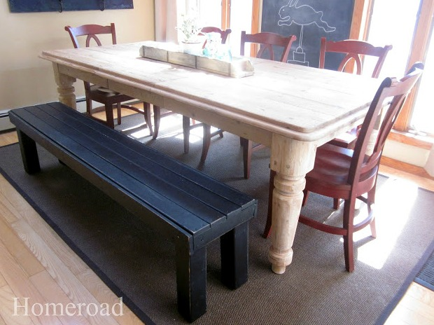 Easy DIY farmhouse bench made from a found futon www.homeroad.net