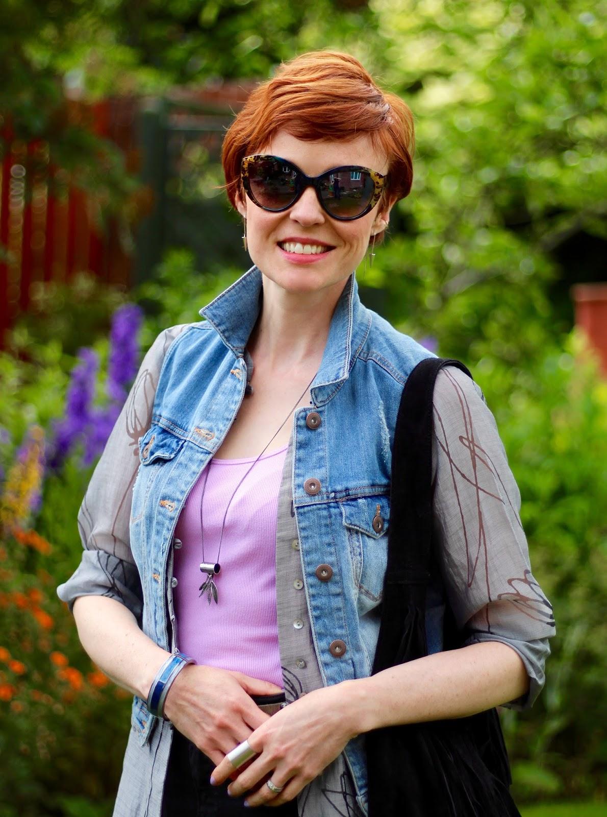 Sheer grey shirt, lilac vest, denim waistcoat, black Skinny jeans | Fake Fabulous | PPP 5
