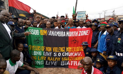 Members of MASSOB during their rally to mark the 17th anniversary of the movement in Awka, Anambra State.