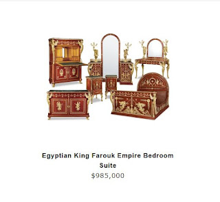 King Farouk's bedroom suite with nearly USD 1 million price tag