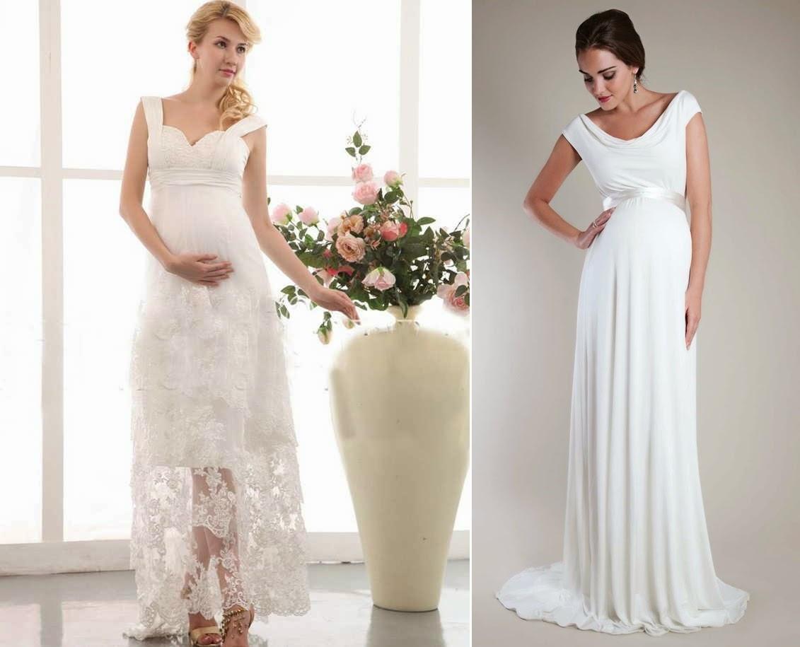 Vestido de noiva longos para Grávidas
