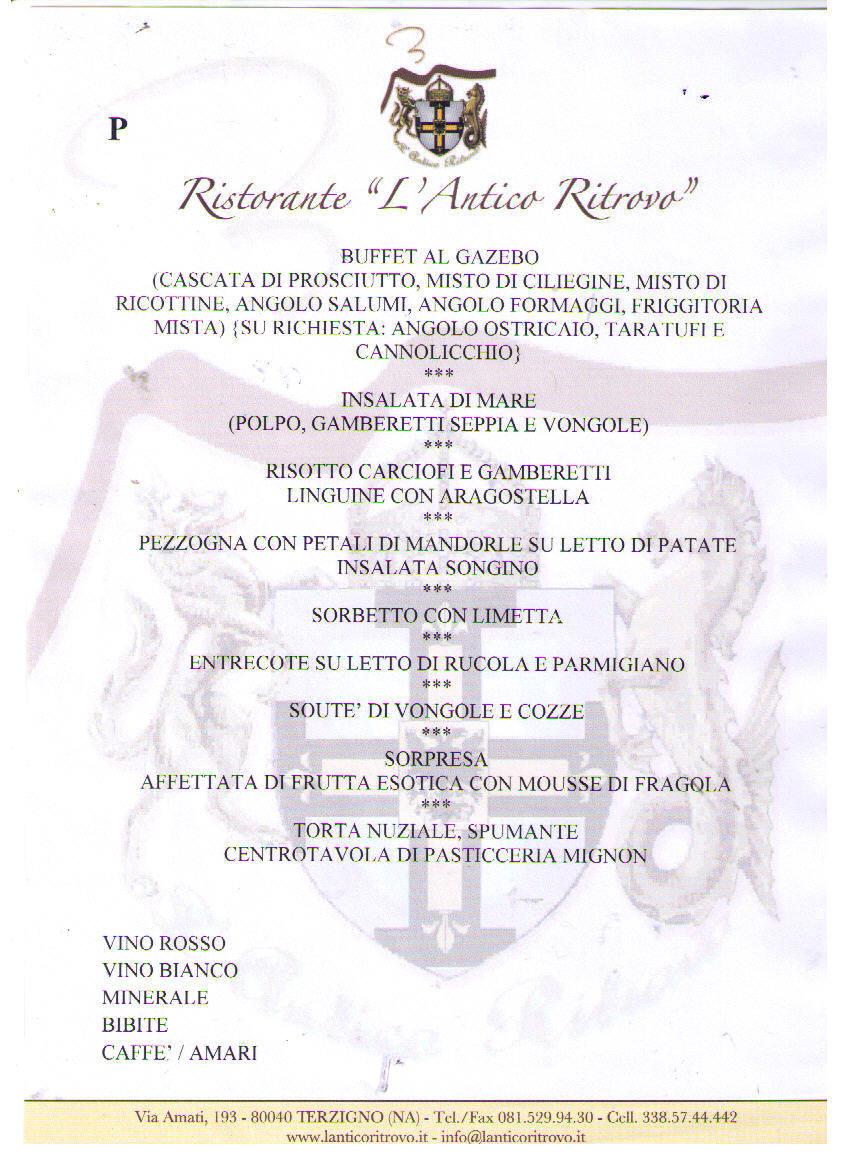Ben noto Ristorante l'Antico Ritrovo: Menù Matrimonio in Promozione RX59