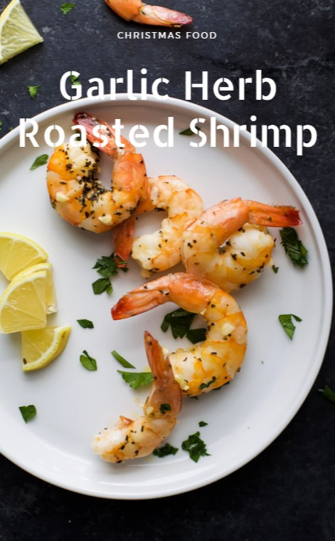 Garlic Herb Roasted Shrimp with Cocktail Sauce #christmas #appetizer