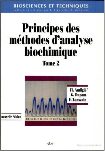 Livre : Principes des méthodes d'analyse biochimique, Tome 2 PDF