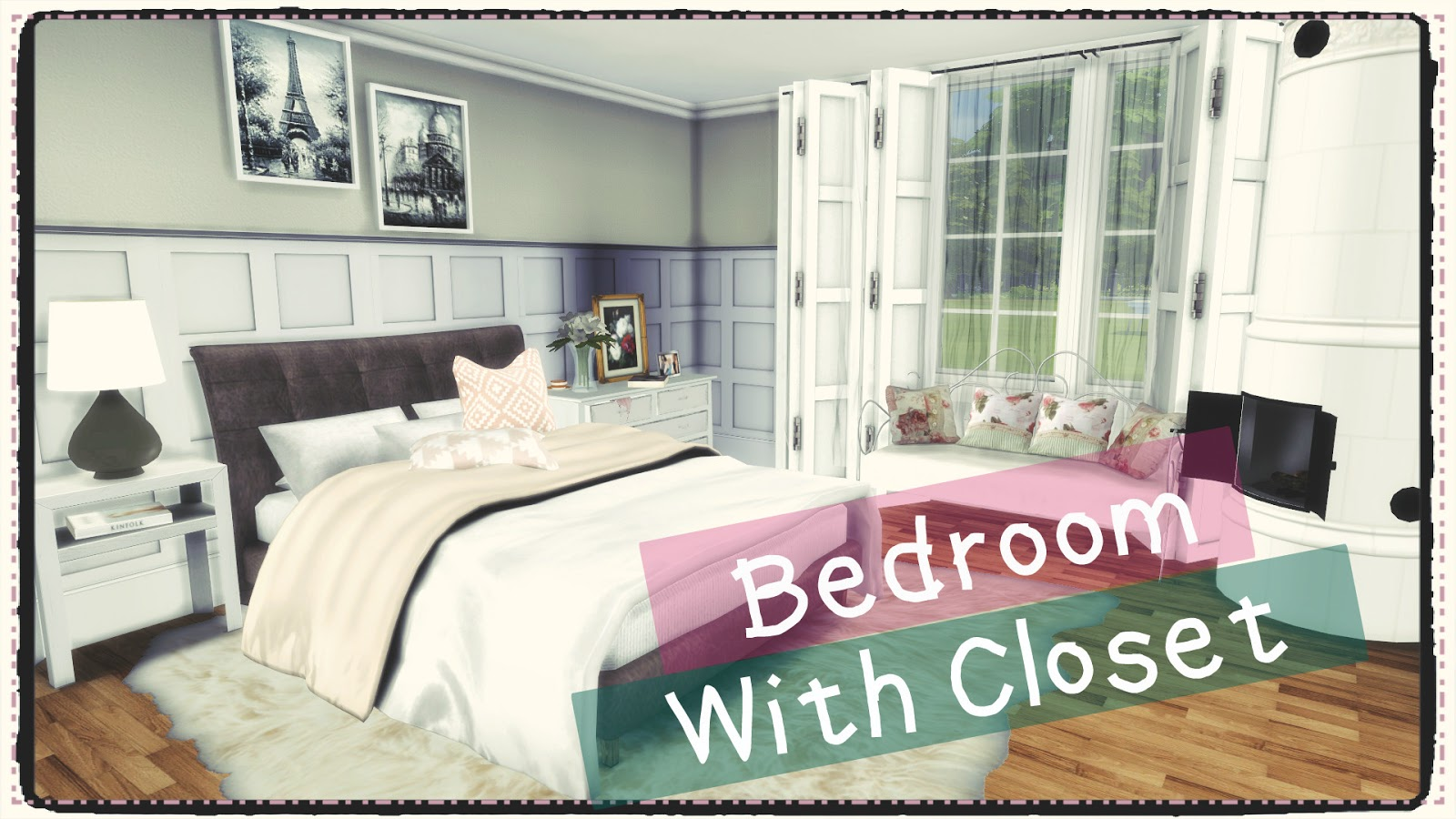 Sims 4 bedroom with closet build decoration dinha for Bedroom designs sims 4