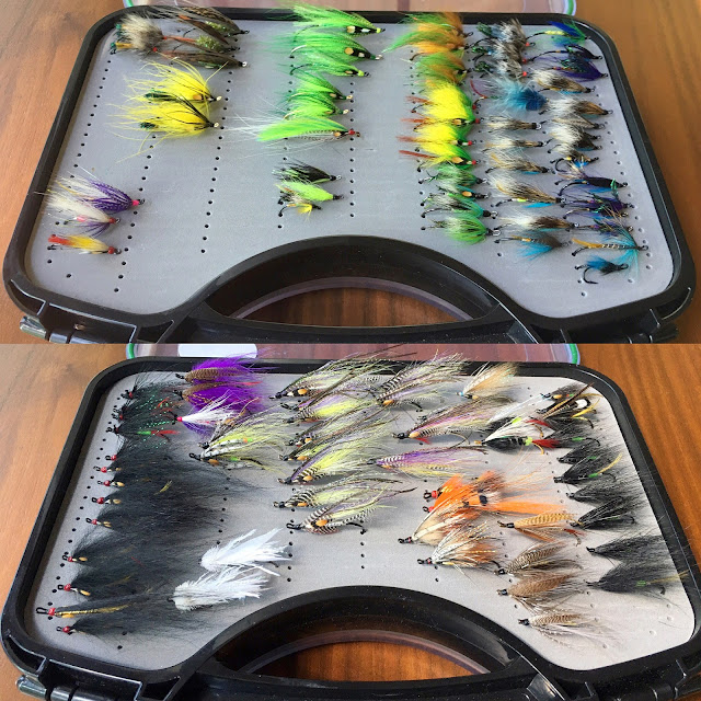 Wet flies for atlantic salmon: Same thing murray, john olin, magog smelt, picasse, black bear green butt, blue charm, green spey, green highlander, pompier, silver rat, out of lunch