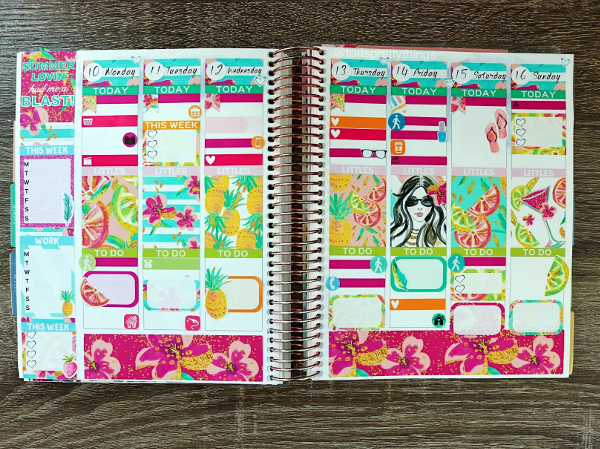 Simply A Mess Summer Lovin' Sticker Kit - July Weekly Erin Condren Planner Spread - Tori's Pretty Things Blog
