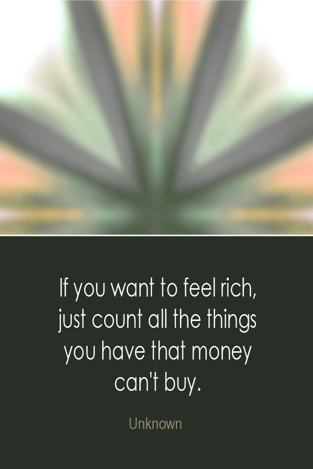 visual quote - image quotation: If you want to feel rich, just count all the things you have that money can't buy. - Unknown