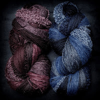 Fusion yarn in Garnet and Cobalt from Cat Mountain