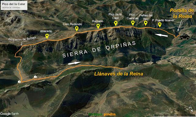 Mapa de la ruta a la Sierra de Orpiñas