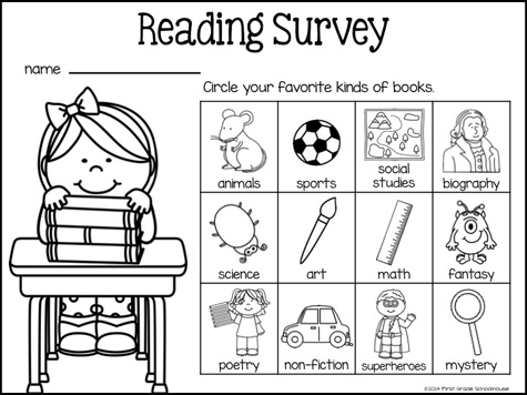 Classroom Freebies: Back to School Reading Surveys