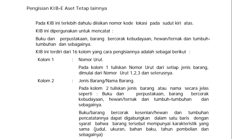 Penjelasan Detail Cara Pengisian Kartu Inventaris Barang (KIB) E Aset Tetap Lainnya dalam Inventaris Barang Sekolah