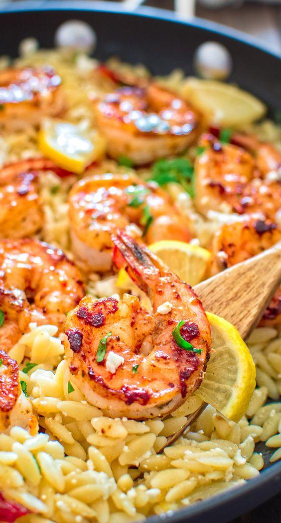 EASY ORZO WITH SHRIMP AND FETA #easyrecipes #orzo #shrimp #feta #tasty #tastyrecipes #delicious #deliciousrecipes