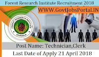 Forest Research Institute Recruitment 2018  Government Job for Clerk