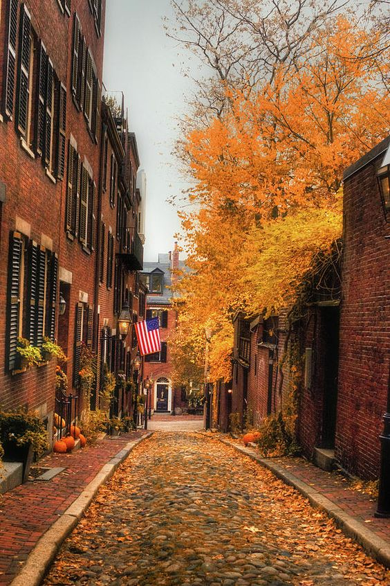 Acorn Street in Boston, Massachusetts, USA