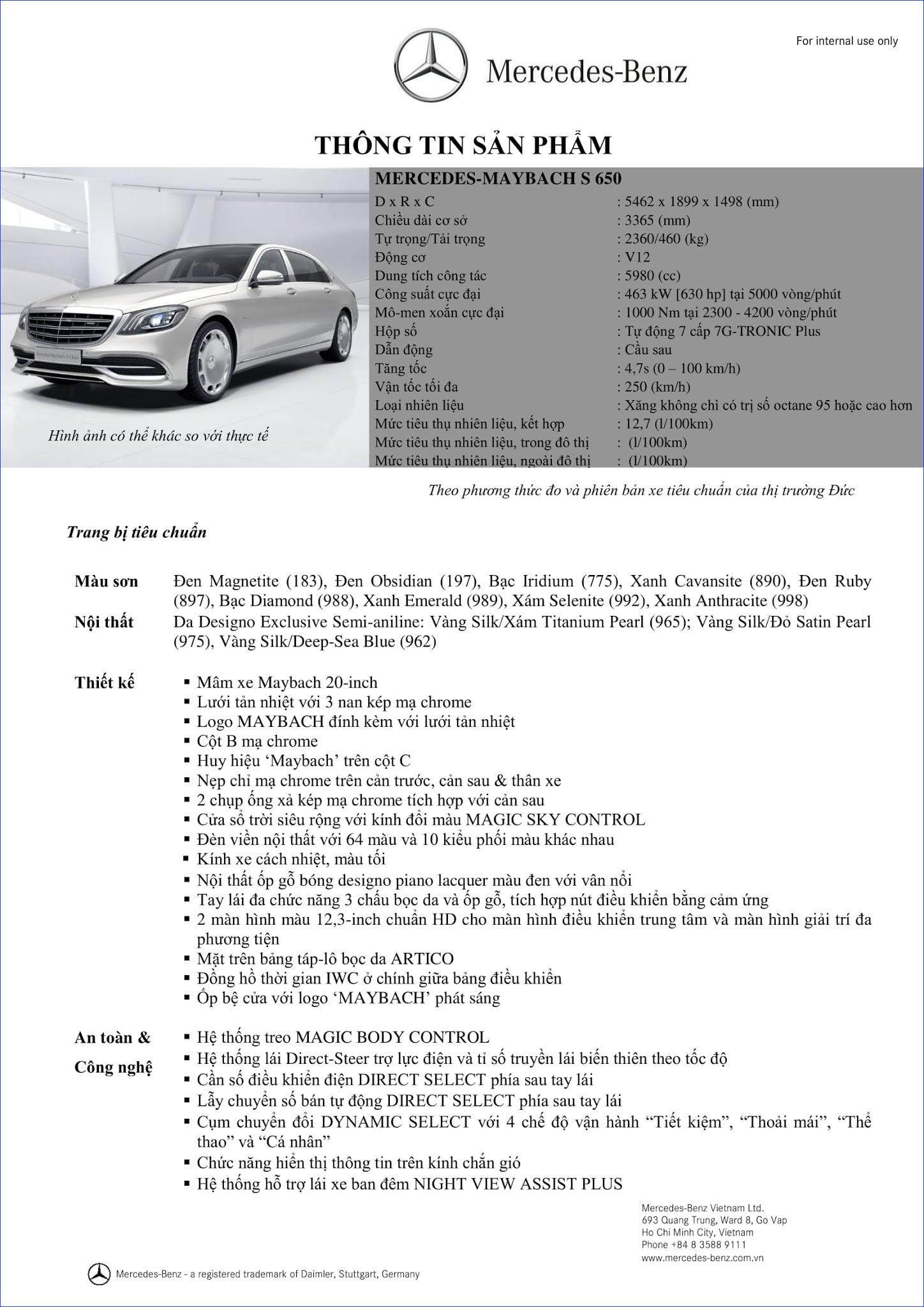 Bảng thông số kỹ thuật Mercedes Maybach S650 2019 tại Mercedes Trường Chinh