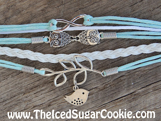 Baby Blue And White Owl Dove Infinity Sign Leather Bracelet by The Iced Sugar Cookie