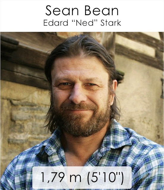 "Sean Bean (Edard ""Ned"" Stark) 1.79 m"