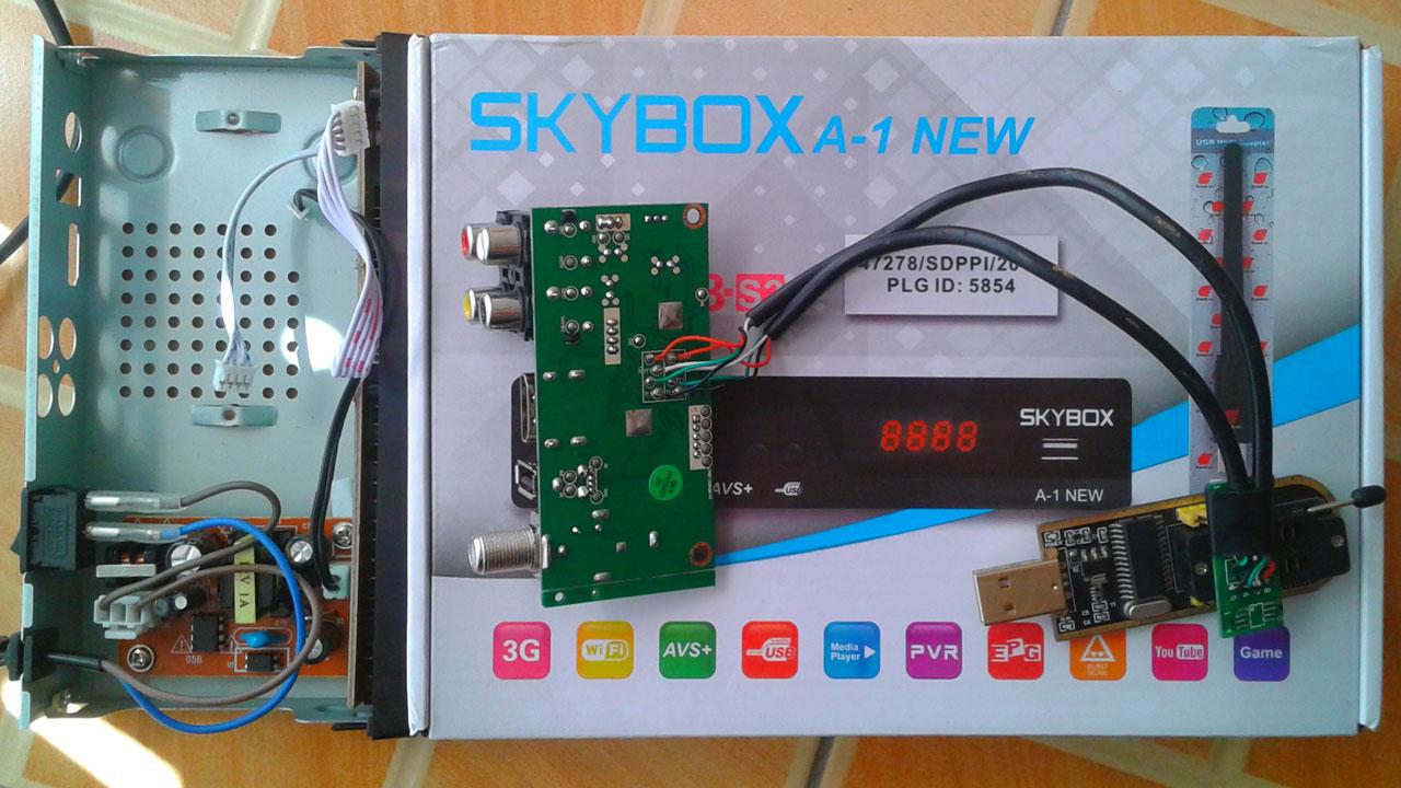 Cara Flash Skybox A1 AVS+ Receiver Parabola