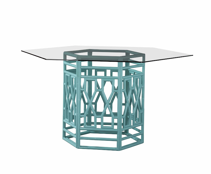 Blue fretwork base and glass top gathering table by Lilly Pulitzer