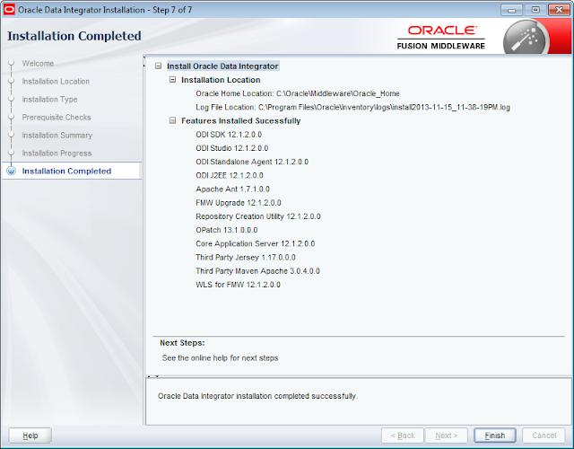 ODI 12c Installer Installation Report
