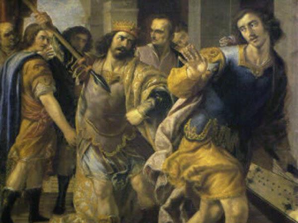 Saul threatening David by Jose Leonardo, raja daud